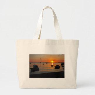 Sunset at the port of Novalja n iKroatien Large Tote Bag