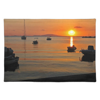 Sunset at the port of Novalja n iKroatien Placemat