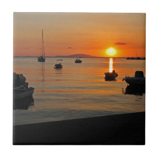 Sunset at the port of Novalja n iKroatien Small Square Tile