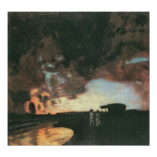 Sunset at the sea by Franz von Stuck Posters