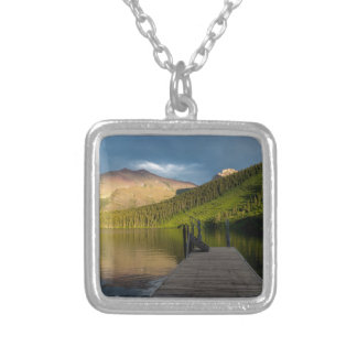 Sunset at Two Medicine Lake Silver Plated Necklace