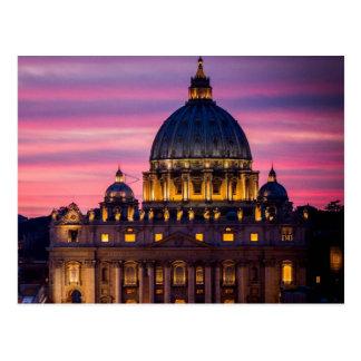 Sunset at Vatican City Postcard