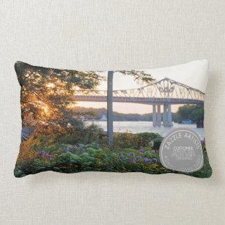 Sunset at Winona Minnesota Levee Lumbar Cushion