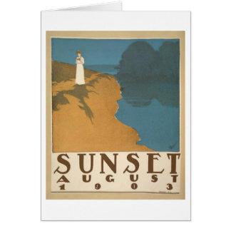 Sunset August 1903 notecard