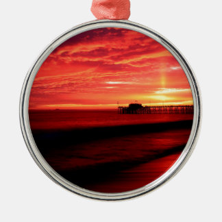 Sunset Balboa Pier California Metal Ornament