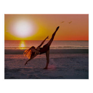 Sunset Ballet on the Beach Poster
