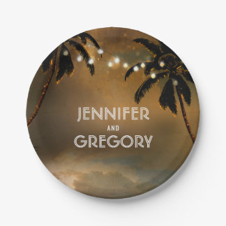 Sunset Beach and String Lights Palms Wedding Paper Plate