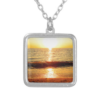 Sunset beach, Cape May NJ Square Pendant Necklace
