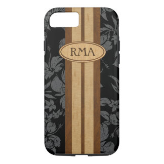 Sunset Beach Faux Wood Surfboard Hawaiian Monogram iPhone 8/7 Case