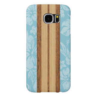 Sunset Beach Faux Wood Surfboard Hawaiian Samsung Galaxy S6 Cases