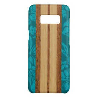 Sunset Beach Faux Wood Teal Surfboard Hawaiian Case-Mate Samsung Galaxy S8 Case