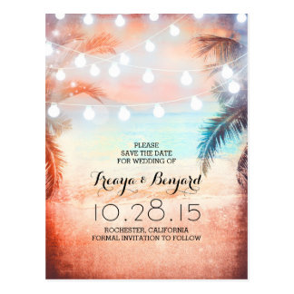sunset beach & palm string lights save the date postcard