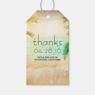 Sunset Beach Palms Wedding Thank You Gift Tags