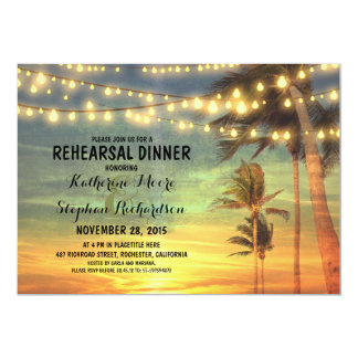 sunset beach rehearsal dinner string lights card