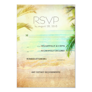 sunset beach romantic wedding RSVP cards