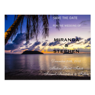 Sunset beach save the date postcard