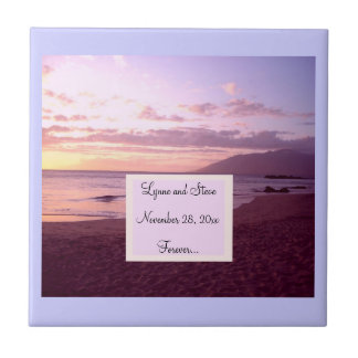 Sunset Beach Save the Date Small Square Tile