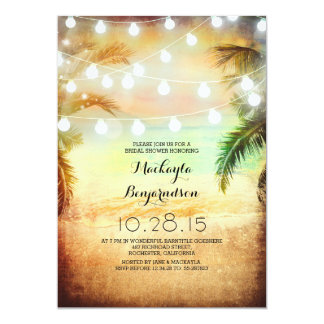 Sunset Beach & String Lights Bridal Shower Card