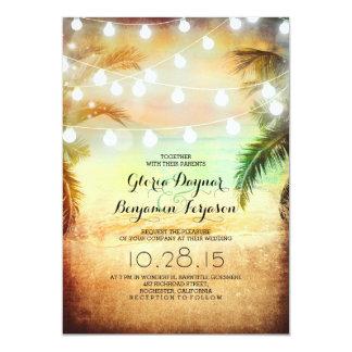 Sunset Beach & String Lights Wedding Invitation