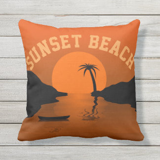 Sunset Beach Throw Pillow