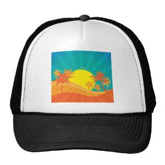 Sunset Beach tropical retro surf design Mesh Hat