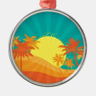 Sunset Beach tropical retro surf design Silver-Colored Round Decoration