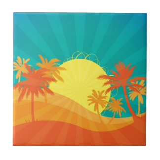 Sunset Beach tropical retro surf design Small Square Tile