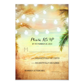 sunset beach twinkle lights tropical wedding RSVP 9 Cm X 13 Cm Invitation Card