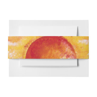 Sunset Beach View Invitation Belly Band