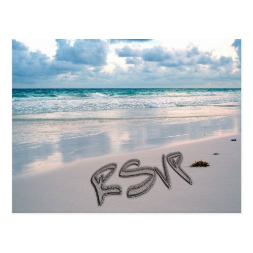 Sunset Beach Wedding RSVP Post Card