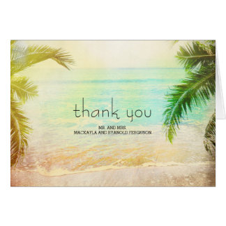 Sunset Beach Wedding Thank You Card