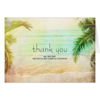 Sunset Beach Wedding Thank You Note Card