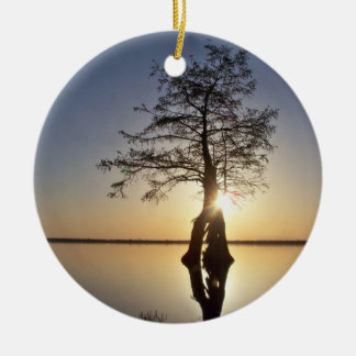 Sunset Behind a Tree Ceramic Ornament