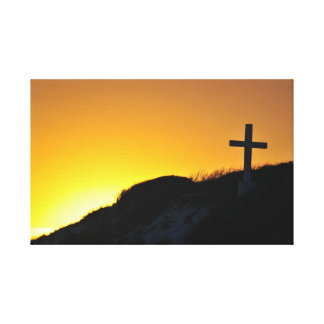 Sunset Behind Cross Stretched Canvas Prints