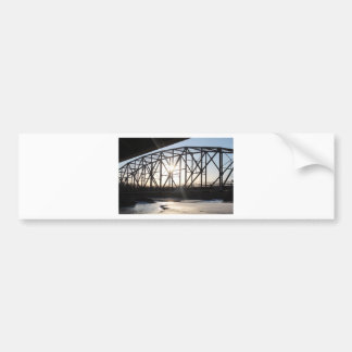 Sunset behind the bridge to Palmer Alaska Bumper Sticker