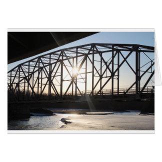 Sunset behind the bridge to Palmer Alaska Card
