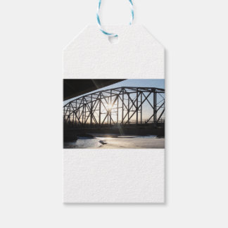 Sunset behind the bridge to Palmer Alaska Gift Tags