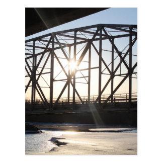 Sunset behind the bridge to Palmer Alaska Postcard
