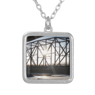 Sunset behind the bridge to Palmer Alaska Silver Plated Necklace