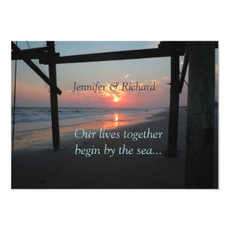 Sunset Beneath the Pier Beach Wedding Card