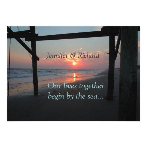 Sunset Beneath the Pier Beach Wedding Invitations
