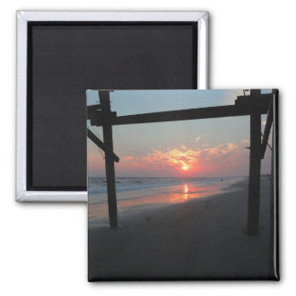 Sunset Beneath The Pier - Oak Island, NC Magnet