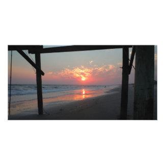 Sunset Beneath The Pier - Oak Island, NC Photo Card