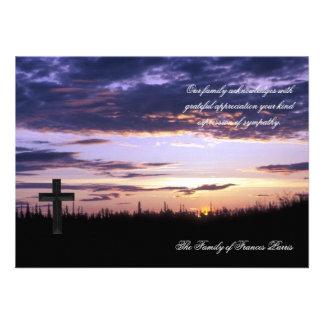Sunset - Bereavement Thank You Notecard Custom Invitations