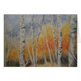 Sunset Birch Trees Card