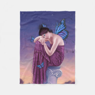 Sunset Blue Monarch Butterfly Fairy Fleece Blanket