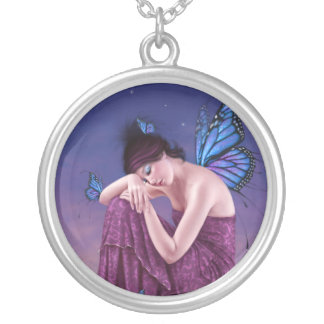 Sunset Blue Monarch Butterfly Fairy Necklace Round Pendant Necklace