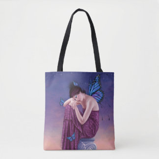 Sunset Blue Monarch Butterfly Fairy Tote Bag