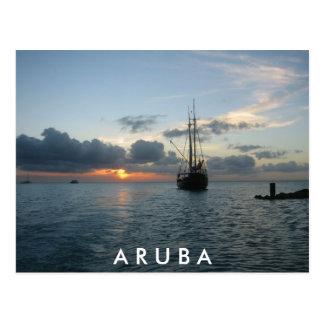 Sunset & Boat in Aruba Postcard