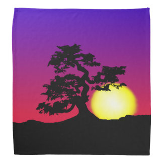 Sunset Bonsai Silhouette Bandana